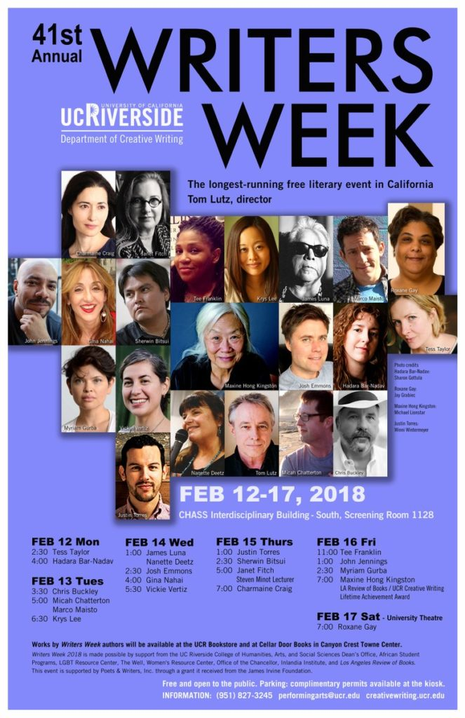 UCR Writers Week 2018 poster